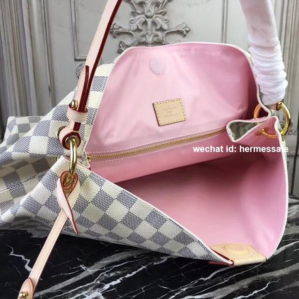 3357d2f096ea Louis Vuitton N42233 Graceful MM Damier Azur Canvas Rose Ballerine