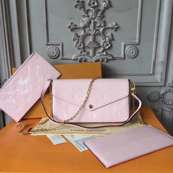 78d1b5d2cc5a Louis Vuitton M64358 Pochette Félicie Monogram Vernis Leather Rose Ballerine