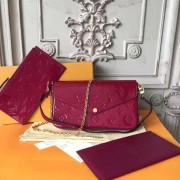 Louis Vuitton M61469 Pochette Félicie Monogram Vernis Leather Magenta