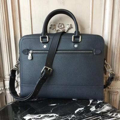 Louis Vuitton M51591 Canyon Biefriefcase Utah Leather Bleu marine