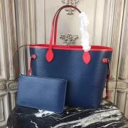 Louis Vuitton M54270 Neverfull MM Epi Leather Indigo Coquelicot