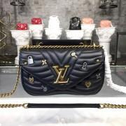 Louis Vuitton M52913 New Wave Chain Bag MM handbag LV New Wave Leather Black