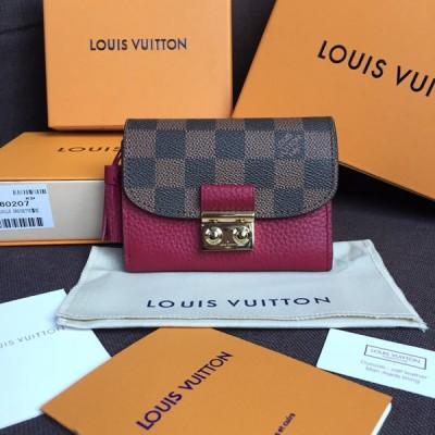Louis Vuitton N60216 Croisette Compact Wallet Damier Ebene Canvas Lie De Vin