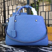 Louis Vuitton M44313 Montaigne MM Monogram Empreinte Leather Bleu Jean
