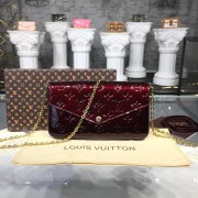 Louis Vuitton M61267 Pochette Félicie Monogram Vernis Leather Amarante