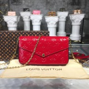 Louis Vuitton M61293 Pochette Félicie Monogram Vernis Leather Cerise