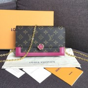 Louis Vuitton M67404 FLORE CHAIN WALLET Monogram Canvas Lie De Vin