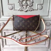Louis Vuitton M41638 Pallas Monogram Canvas Leather Clutch Bag Cherry