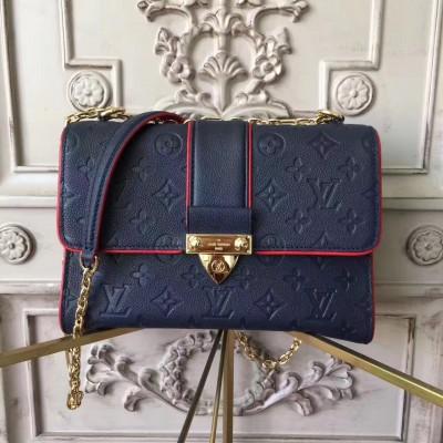 Louis Vuitton M43394 Saint Sulpice PM Monogram Empreinte Leather Marine Rouge