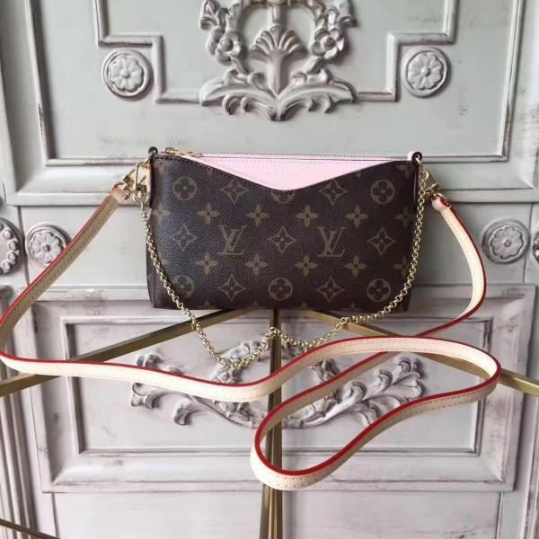 cce6278c0587 Louis Vuitton M44037 Pallas Monogram Canvas Leather Clutch Bag Rose poudre
