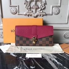 Louis Vuitton N64448 Clapton Wallet in Damier Canvas and Leather Raisin