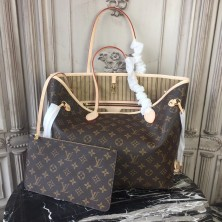 Louis Vuitton M40995 Neverfull MM Monogram Canvas Beige