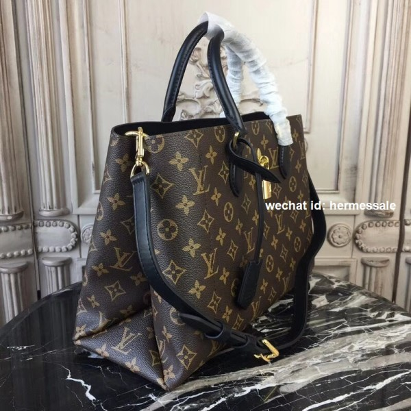 604730c618215 Louis Vuitton M43550 Flower Tote Monogram Canvas Noir