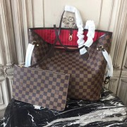 Louis Vuitton N41358 Neverfull MM Damier Ebene Canvas Red