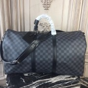 Louis Vuitton N41413 Keepall Bandouliere 55 Damier Graphite Canvas