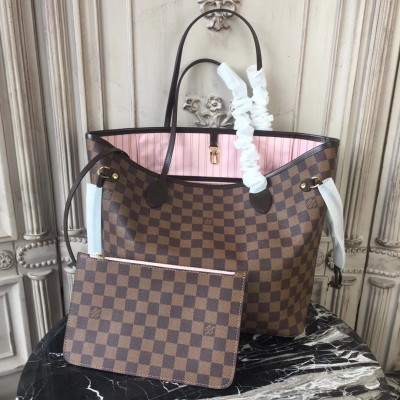 Louis Vuitton N41603 Neverfull MM Damier Ebene Canvas Rose Ballerine
