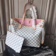Louis Vuitton N41605 Neverfull MM Damier Azur Canvas Rose Ballerine