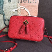 Louis Vuitton M44606 Saintonge Monogram Empreinte Leather Handbag Scarlet