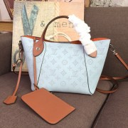 Louis Vuitton M52975 Hina PM Mahina Leather BLEU HORIZON PUMPKIN