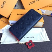 Louis Vuitton M63920 Clémence Wallet Monogram Empreinte Leather Marine Rouge