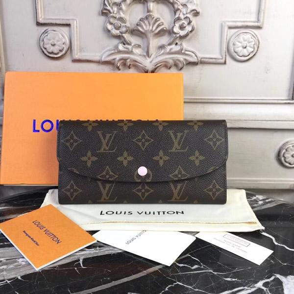 b887bbc4f28 Louis Vuitton M61289 Emilie Monogram Canvas Wallet Rose Ballerine