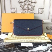 Louis Vuitton M64099 Luxury Monogram Leather Pochette Felicie Bag Marine Rouge