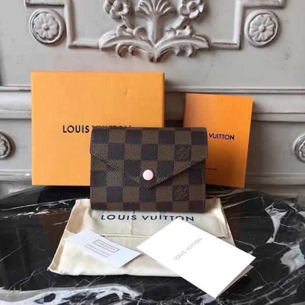 71c409f96d61 Louis Vuitton N61700 Victorine Wallet Damier Ebene Rose Ballerine