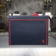 Louis Vuitton M63394 Pochette Voyage Taiga Leather Bleu marine