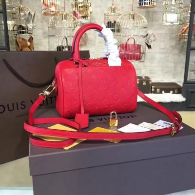 Louis Vuitton M42395 Speedy Bandoulière 20 Monogram Empreinte Leather Cherry