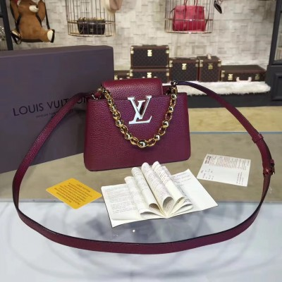 Louis Vuitton M42935 Capucines Mini Chain Taurillon Leather Amarante