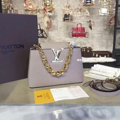 Louis Vuitton M42935 Capucines Mini Chain Taurillon Leather Taupe