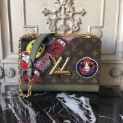 Louis Vuitton M43497 Monogram Canvas and Epi with Kabuki Stickers Twist MM Bag