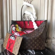 Louis Vuitton M43499 Monogram Canvas and Monogram Reverse with Kabuki Stickers Neverfull MM Bag