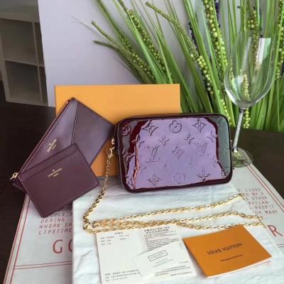 Louis Vuitton M64057 CAMERA POUCH Monogram Vernis Leather Amarante