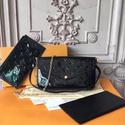 Louis Vuitton M61267 Pochette Félicie Monogram Vernis Leather Black