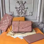 Louis Vuitton M62944 Pochette Félicie Monogram Vernis Leather Nude