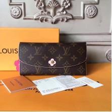 Louis Vuitton M64202 Monogram Canvas Emilie Wallet Rose Ballerine