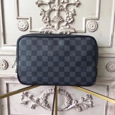 Louis Vuitton N47521 Toilet Pouch GM Damier Graphite Canvas